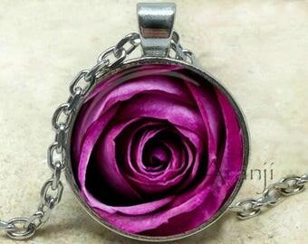 Purple rose necklace, purple rose pendant, rose necklace, rose jewelry, rose pendant, mom gift, purple flower pendant, pendant #PL103P