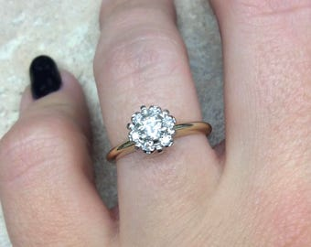 Vintage 1960s cluster  Engagement Ring in 14k Yellow Gold