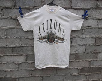 Vintage T-Shirt Phoenix Arizona 1990s 80s Native American South West Eagle Grand Canyon Large Logo