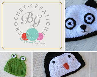 Ready to ship crochet baby hat frog - crochet frog hat - baby panda hat - baby pand hat - penguin hat - photo prop hats cute baby hats rts