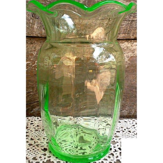 Antique Carnival Glass Vase, Lime Green, Wide Rim, Translucent, Carnival Glass, Display Vase,