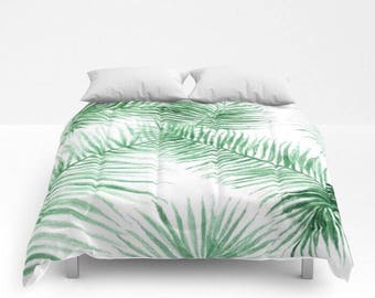 Palm Leaf Comforter, palm leaf quilt, leaf full comforter, palm leaf bedding, queen comforter, palm leaf duvet, tropical comforter