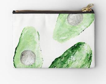 Avocado Pouch, avocado makeup bag, avocado pencil pouch, green pouch, avocado gift