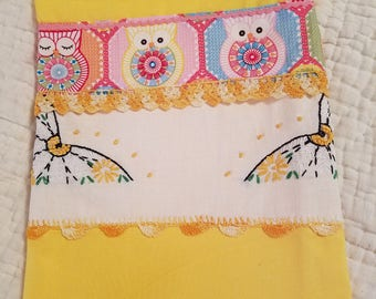 Kitchen Tea Towel - Handmade - Owls and Butterflies