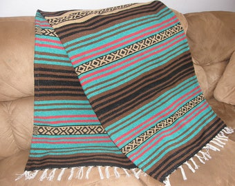 Masculine Throw #R - Made from Mexican Blanket Fabric - Long, rugged - Den, Hot rods, parties, beach, wall hanging - Brown Greem Tan