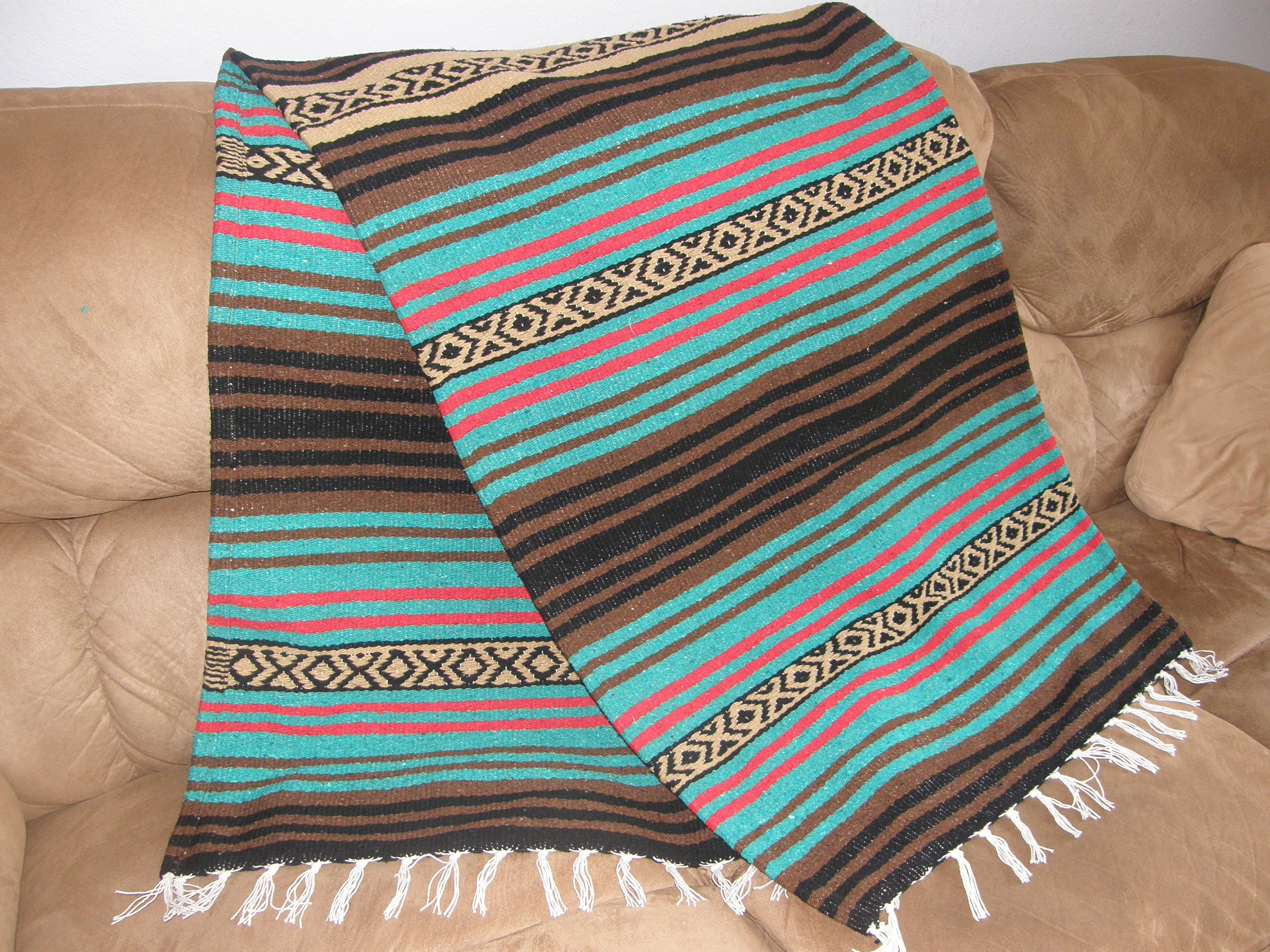 Masculine Throw R Made from Mexican Blanket Fabric Long