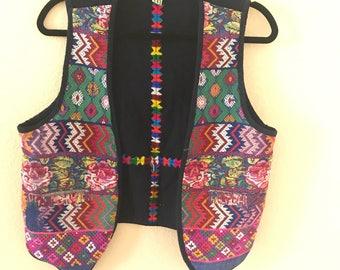 Vintage Hand Stitched Guatemalan Tapestry Vest.