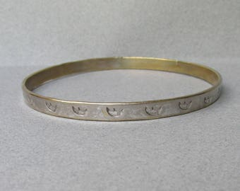 Vintage Crescent Moon Stamped Gold Washed Sterling Silver Mexico Bangle Bracelet