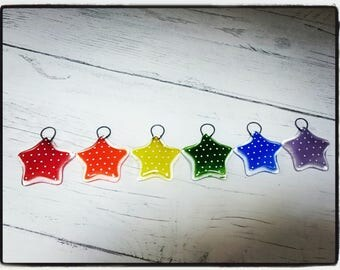 Fused Glass set of 6 Rainbow Spotty Star Decorations, Star Christmas Decorations, Christmas decor, tree decorations