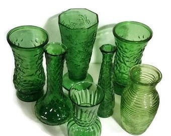 Vintage Flower Vases, Vintage emerald green bud vases,  lot of 7 green glass bud vase collection, wedding, Christmas centerpiece vases