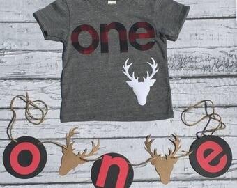 One. Lumberjack. Deer. First Birthday. READY TO SHIP