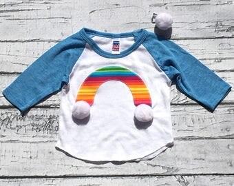Rainbow Shirt. Baseball T. Size  3 - 6 Months. Free Matching Pom Pom Clip. READY TO SHIP