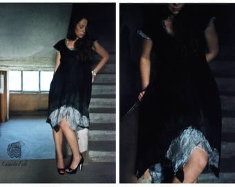 Eco and boho fashion felted black reversible dress from natural silk and A-Grade wool - OOAK - to order
