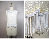60s Art Deco Pearl Beaded Fringed Top // Heavily Embellished Iridescent Sequin Top w/ Fringe Beaded Pearls S/M