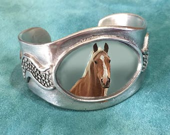 Custom Photo Cuff bracelet with Oval frame, Your Photo Your Pet