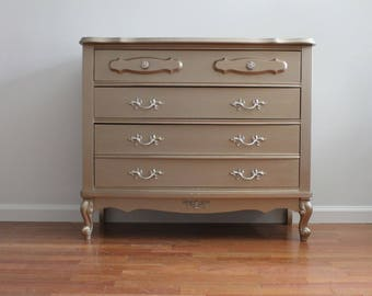 SOLD ****French Chic Light Gold Metallic 3 drawer dresser/small dresser/changing table