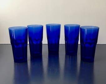 vintage cobalt blue glass tumblers Arcoroc France set of 5