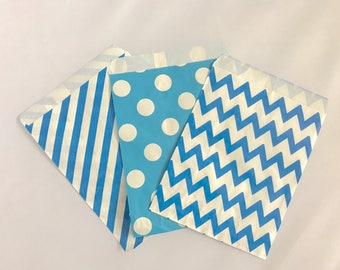 Goodie Bags-Blue Striped, Polka Dot, & Chevron | Gender Reveal | Baby Shower | Candy Buffet | Popcorn | Paper Treat Bags-15 Count