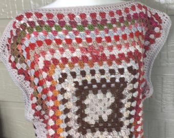 Granny Square tank top wool and cotton