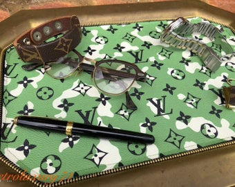 Auth Louis Vuitton  camoflage canvas reworked mens valet decorative tray serving  keys tassel Gucci One of a kind