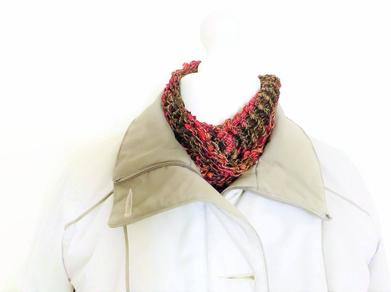 Knitting Loop Scarf : Cowl neck scarf circle red hand knit