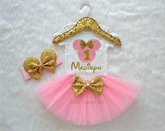 Baby Girl Disney Minnie Mouse, Pink and Gold with Custom Name, Birthday Tutu Headband Set, Short and Long Sleeve Bodysuit Tshirt 256