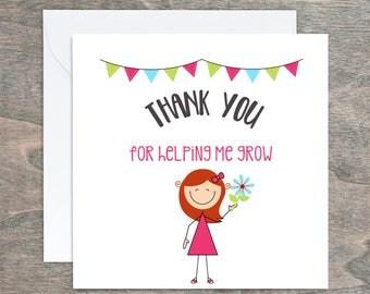 Thank you Card, Teacher Thank You,Teacher Appreciation, Teaching Assistant, End of Term, Card for Teacher, Teaching Assistant, Teacher Gift