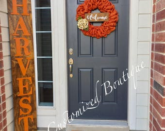 Reversible Harvest/Believe/Welcome Vertical Wooden Sign, Wooden Welcome Sign, Welcome Sign, Wooden Sign, Vertical Christmas Sign, Fall Sign