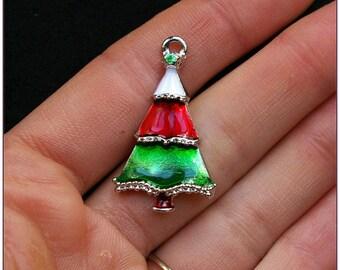 Enamel christmas tree x 1 Christmas tree charm