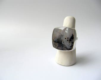 The Bare Outside Of This World - sterling silver graveyard point plume agate ring, grey off-white unique gemstone square ring