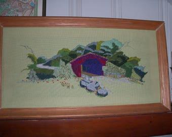 Large Vintage Cross Stitch Framed Covered Bridge Pennsylvania Crewel Wall Art