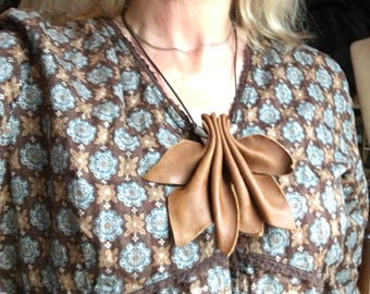 Handcrafted Brown Leather Necklace With Silver Beads on a Black Cord