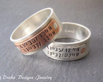 sterling silver mens coordinates ring personalized for women or men with custom coordinates