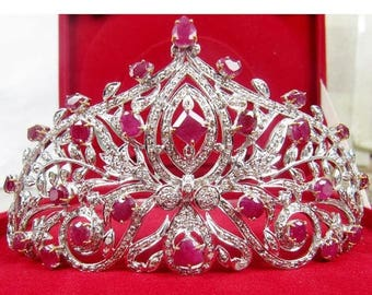 ON SALE 10% OFF Victorian Style 16.50Ctw Rose Cut Diamond .925 Sterling Antique Tiara/Crown