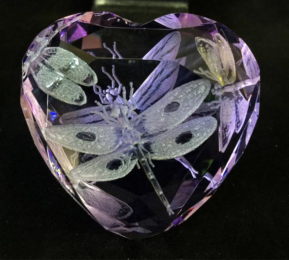 Hand Engraved Purple Paperweight Dragonflies, Office Decor, Home Decor, Etched Dragonflies, office decor, Engraved dragonfly crystal glass