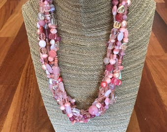 Multi strand chunky peachy necklace