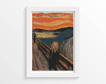 Abstract Cross Stitch Chart, Scream MINI Cross Stitch Pattern PDF, Art Cross Stitch, Edvard Munch, Embroidery Chart (TAS137)