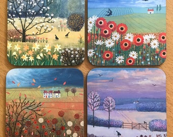 The Four Seasons - set of 4 wooden coasters of seasonal landscapes