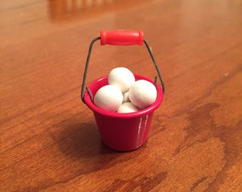 Dollhouse miniature bucket of snowballs