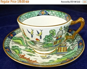 ON SALE YE Old Willow Tea Cup & Saucer, Crown Staffordshire Bone China, England, Vintage