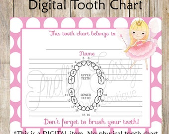 Tooth Fairy Receipt * Printable tooth chart, Instant Download Tooth Fairy Tooth Receipt, Tooth Fairy printables