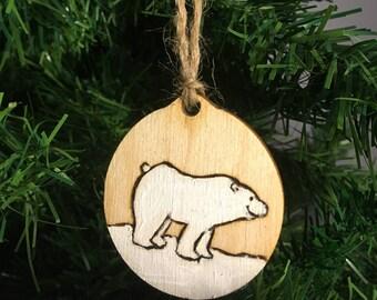 Wooden Handpainted Christmas Decoration | Polar Bear