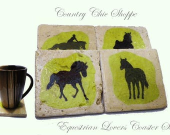 Coaster Set of 4 for Equestrian Lovers.  Great Housewarming or Shower Gift.