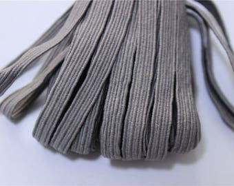 elastic Ribbon 5 meters flat grey color