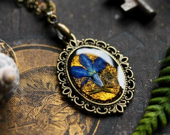 Blue flower necklace, pressed flower pendant, unique jewellery, best gifts for her, gift for wife,  nature inspired, terrarium jewelry
