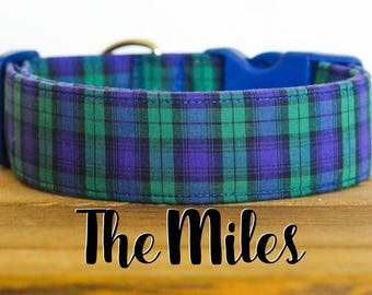 """Preppy Navy and Green Plaid Dog Collar """"The Miles"""""""