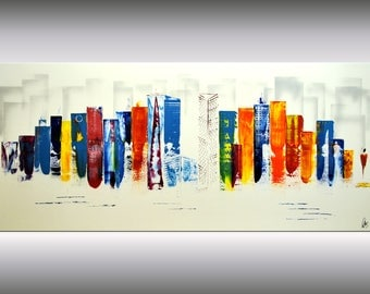 acrylic abstract painting skyline NEW YORK Ettis wall art canvas colorful painting fine art painting stretched canvas huge XXL painting