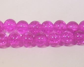 10 Fuchsia 8mm crackled glass beads