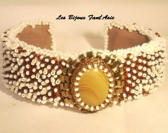 Cuff embroidered on beige and Brown gemstone and Japanese beads, Brown and white cabochon