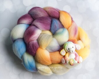 Hand Dyed Roving - Dyed Wool - Kettle Dyed Polwarth –Spinning Fiber - Dyed Wool Roving – Organic Polwarth (#2)